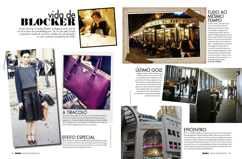 Vida de Blocker: coluna na revista Moda