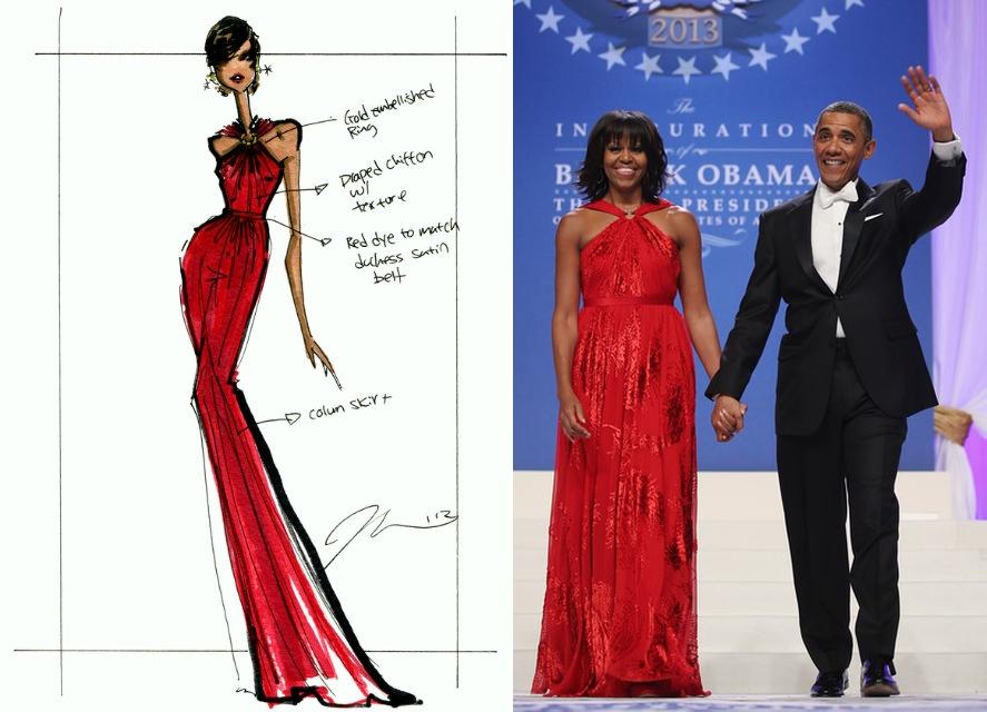 Achei a primeira dama deslumbrante com este vestido de Jason Wu.