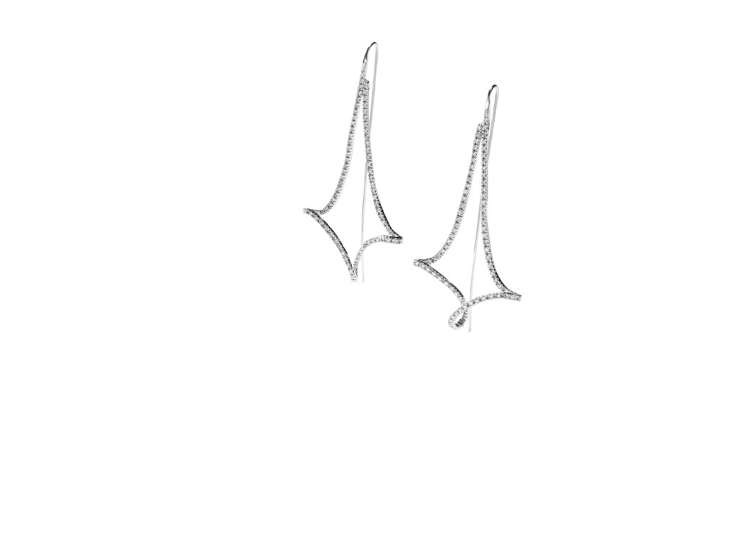 ALVORADA - Brincos de ouro branco com diamantes