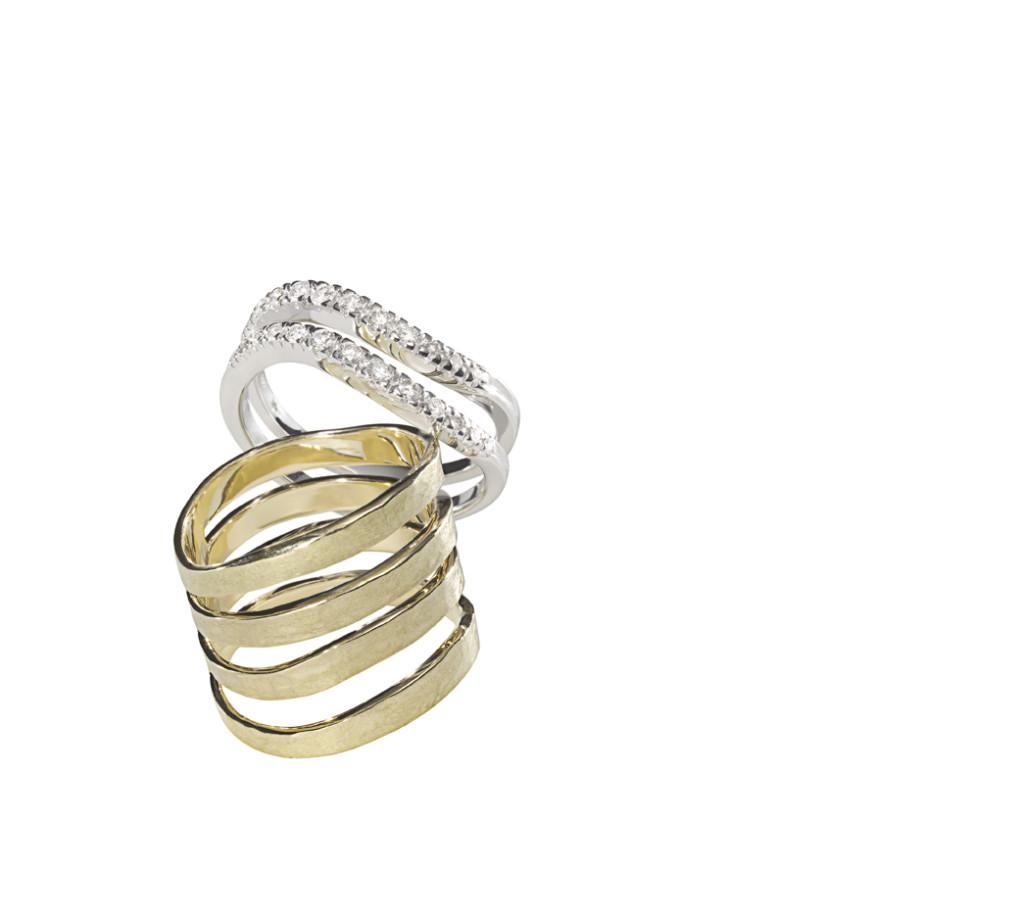 COPAN - Anéis de ouro amarelo e ouro branco com diamantes