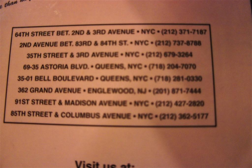 Os vários endereços do Jackson Hole.  O que gosto, este das fotos, é na 64th Street.