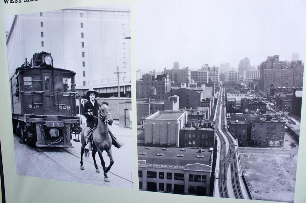 Cowboy na frente da locomotiva para avisar pessoas da sua chegada. Várias pessoas eram atropeladas pelo trem. Para acabar com este problema, foi construído o High Line.