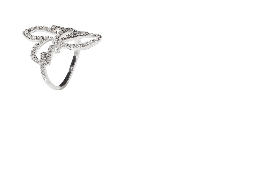 FLOR - Anel de ouro branco com diamantes