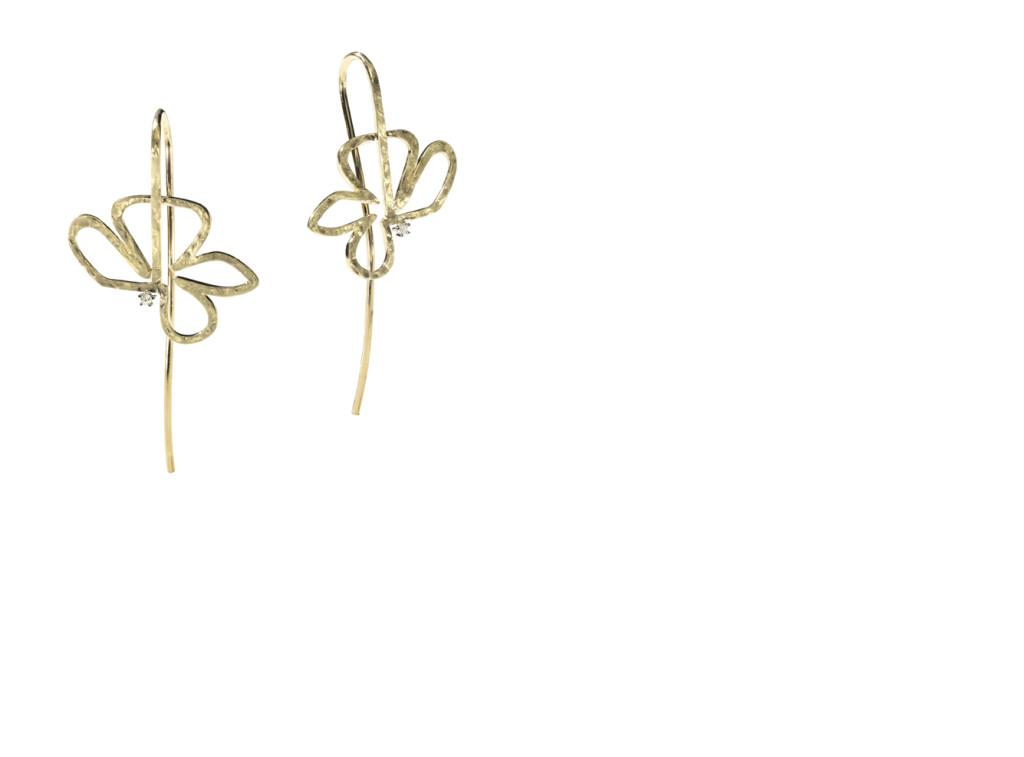 FLOR - Brincos de ouro amarelo texturizado com detalhes de diamantes