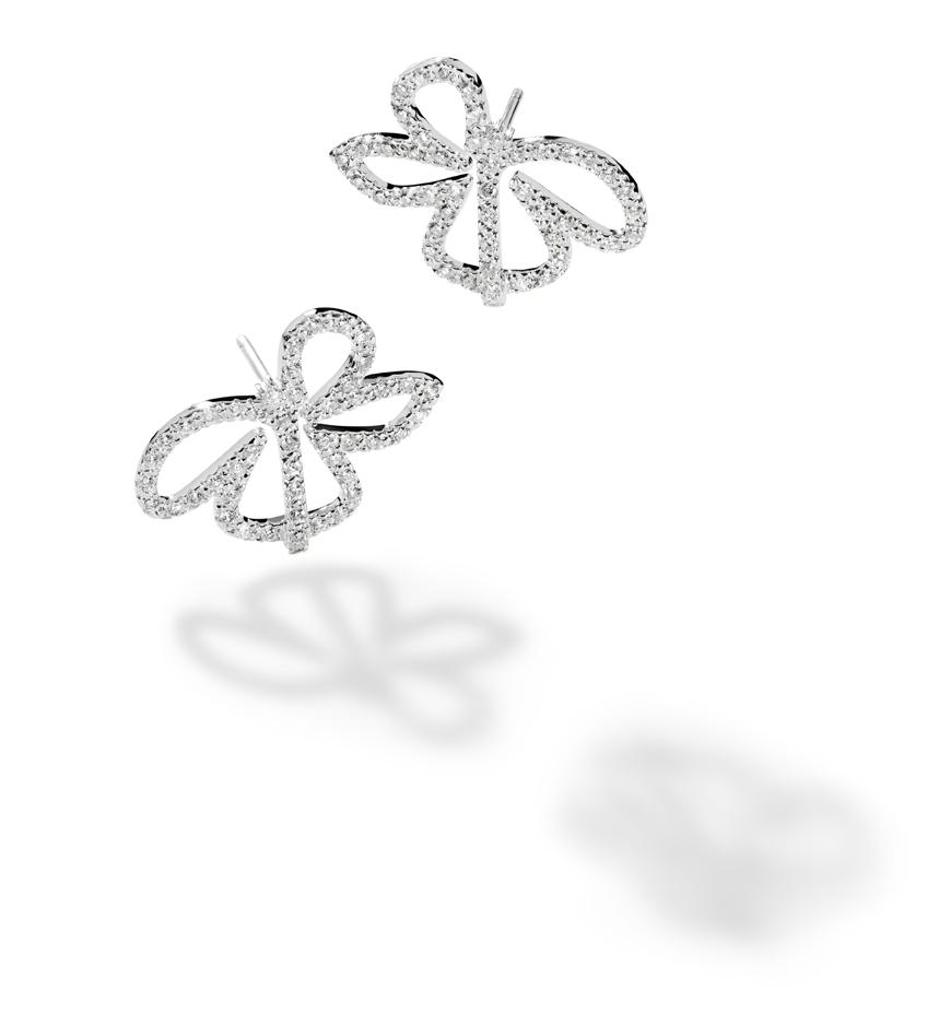 FLOR - Brincos de ouro branco com diamantes