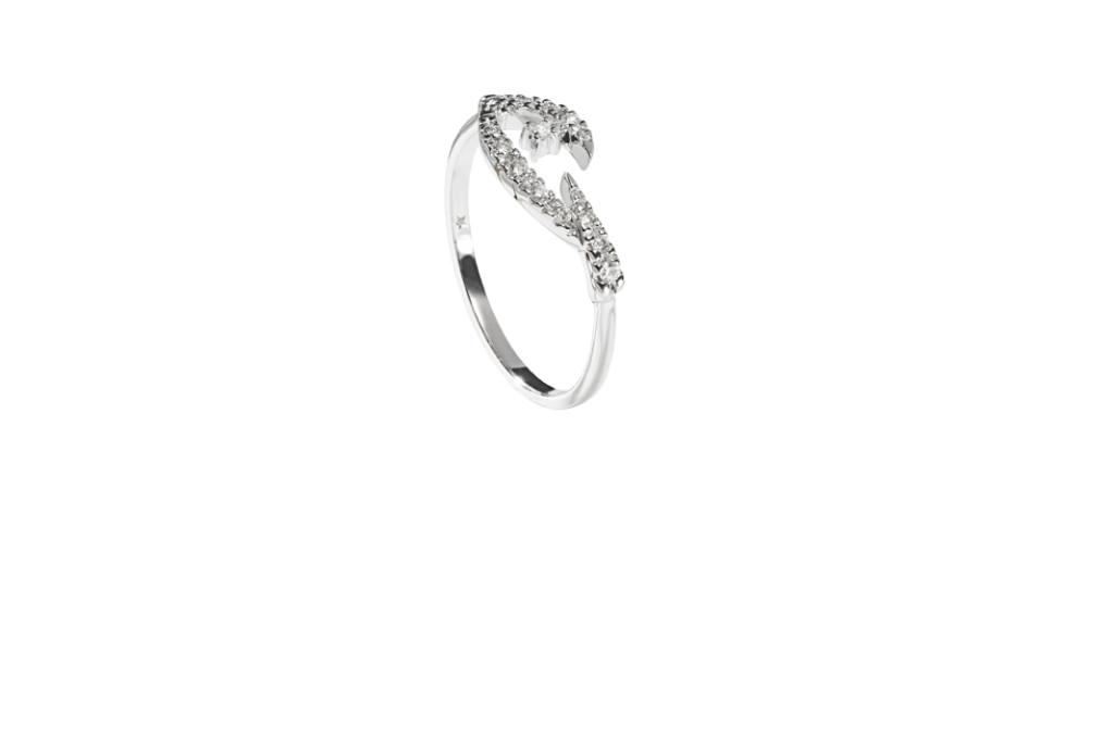 PÁSSARO - Anel de ouro branco com diamantes