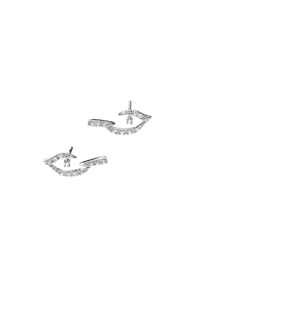 PÁSSARO - Brincos de ouro branco com diamantes