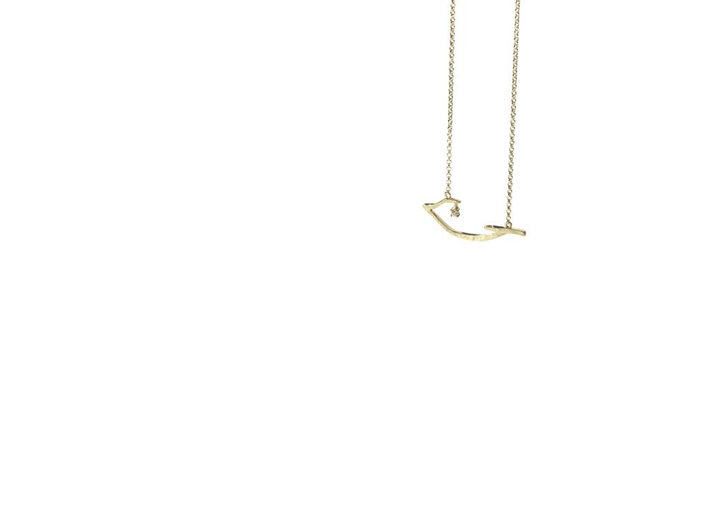 PÁSSARO - Pendente de ouro amarelo texturizado com detalhe de diamante
