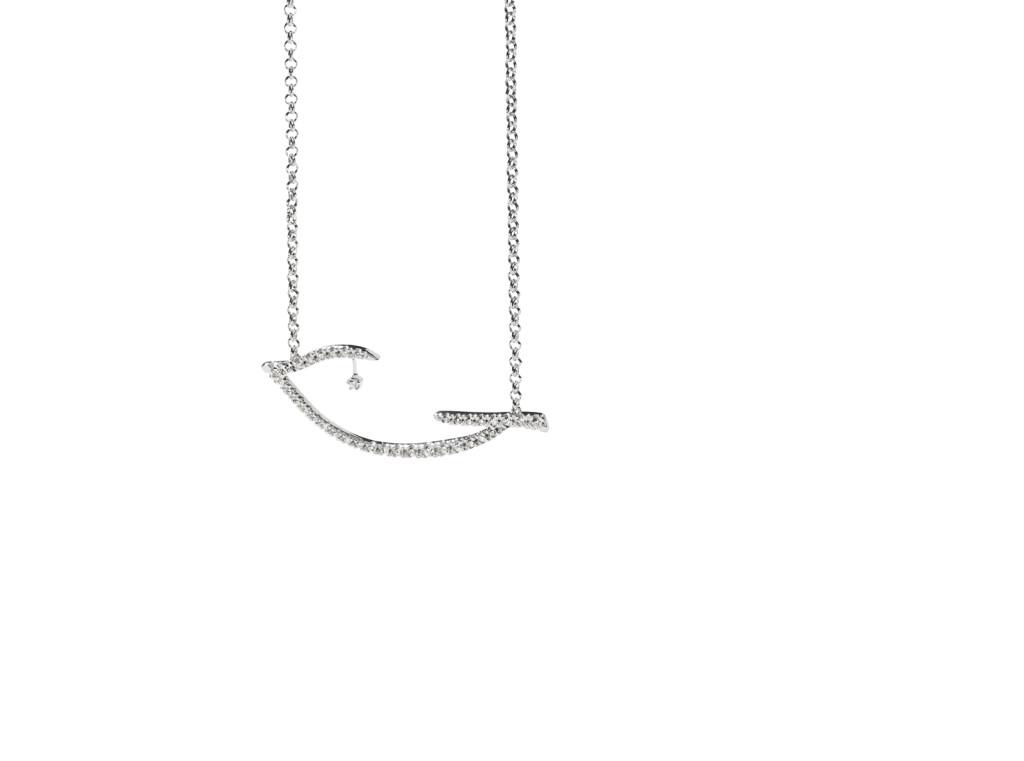 PÁSSARO - Pendente de ouro branco com diamantes
