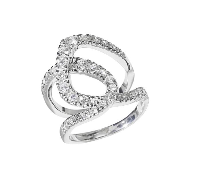 TRAÇOS - Anel de ouro branco com diamantes