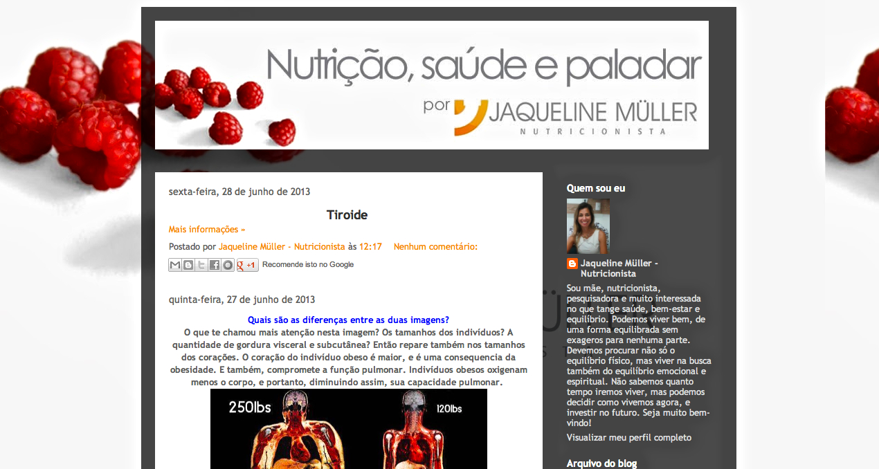 Registros do Salotto: Boa nutrição, blog da querida Jaqueline Muller