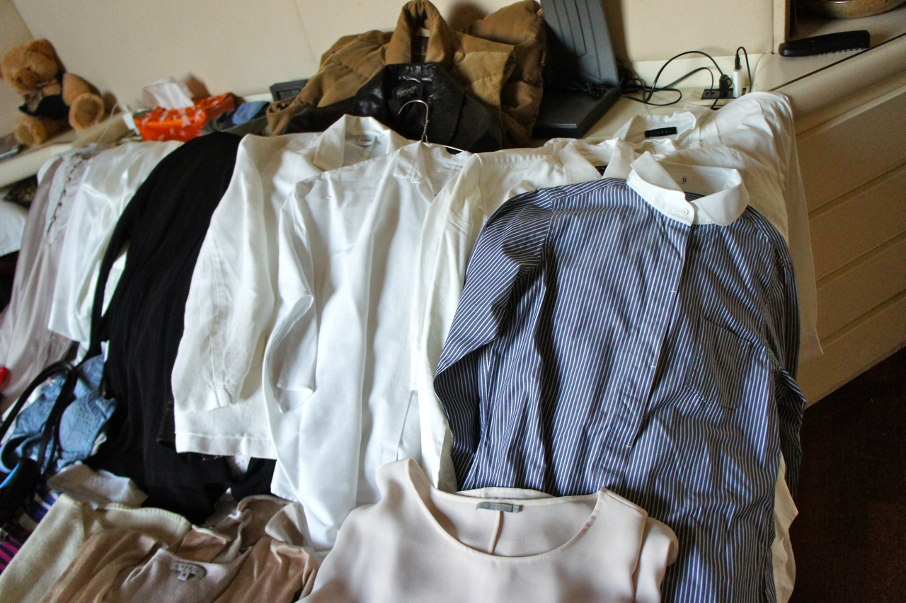 camisas, casacos e colete de plumas