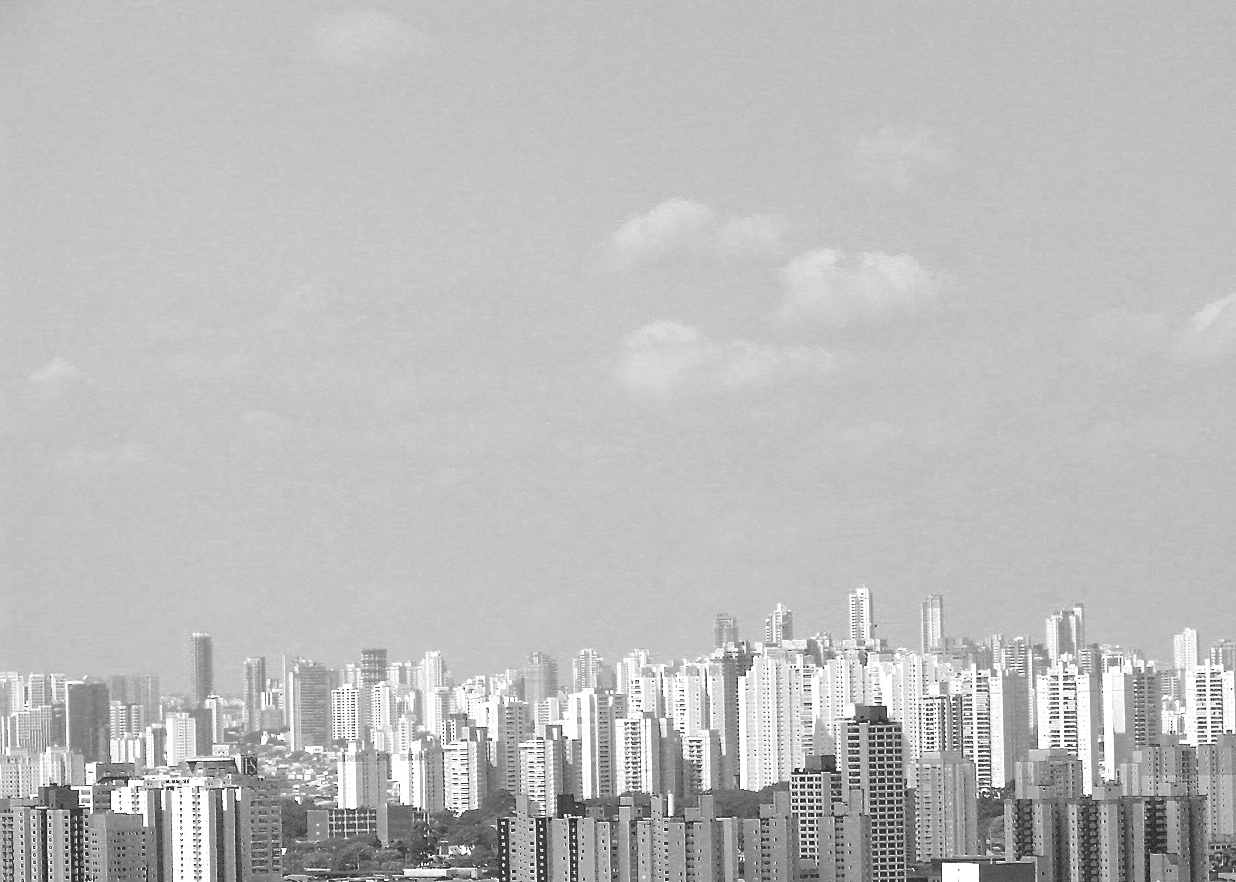 Skyline. São Paulo em preto e branco. Alto do Edifício Martinelli