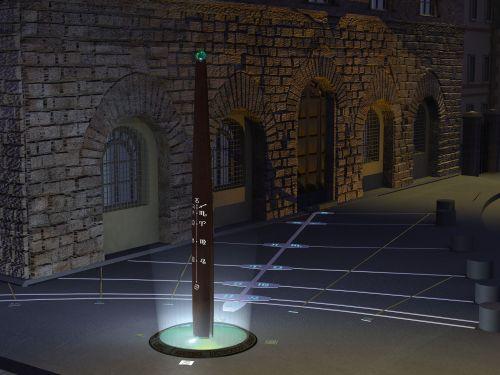 E, à noite, esse magnífico e iluminado relógio de 6 metros de altura, também assinala constelações.
