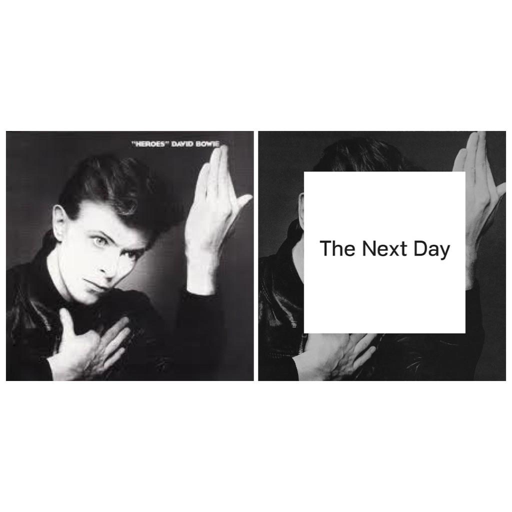 Depois de quase 10 anos de silêncio (ele teve um infarte em sua última turnê e colocou três pontes safenas) e reclusão em seu apartamento de Nova York, onde vive, David Bowie lançou um novo disco em abril de 2013. O interessante é que, em tempos de internet, ele conseguiu fazer isto em segredo. Passou dois anos gravando sem que soubessemos. A capa deste novo trabalho, The Next Day, reproduz a foto de Bowie na capa de Heroes, mas tem um quadrado branco no meio.