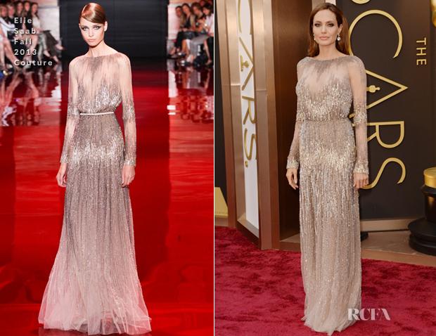 Achei que este vestido Elie Saab não mostra o que Angelina Jolie tem de melhor.  Marcar a cintura em blusé assim a aumenta.