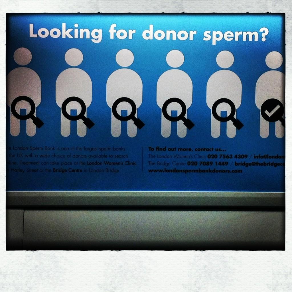 Campanha no underground para doação de espermas. Só em Londres!