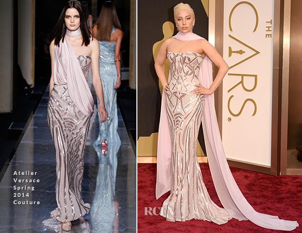 Lady Gaga elegante de Atelier Versace.  Ela sabe o que faz.  Cabelo e maquiagem discretamente dramáticos.