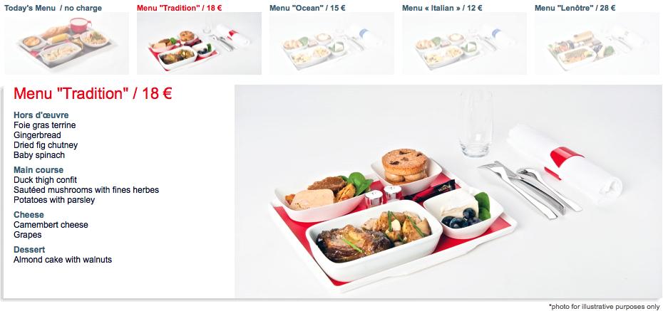 Airfrance, menu nos ares, hmmmmmmm!!