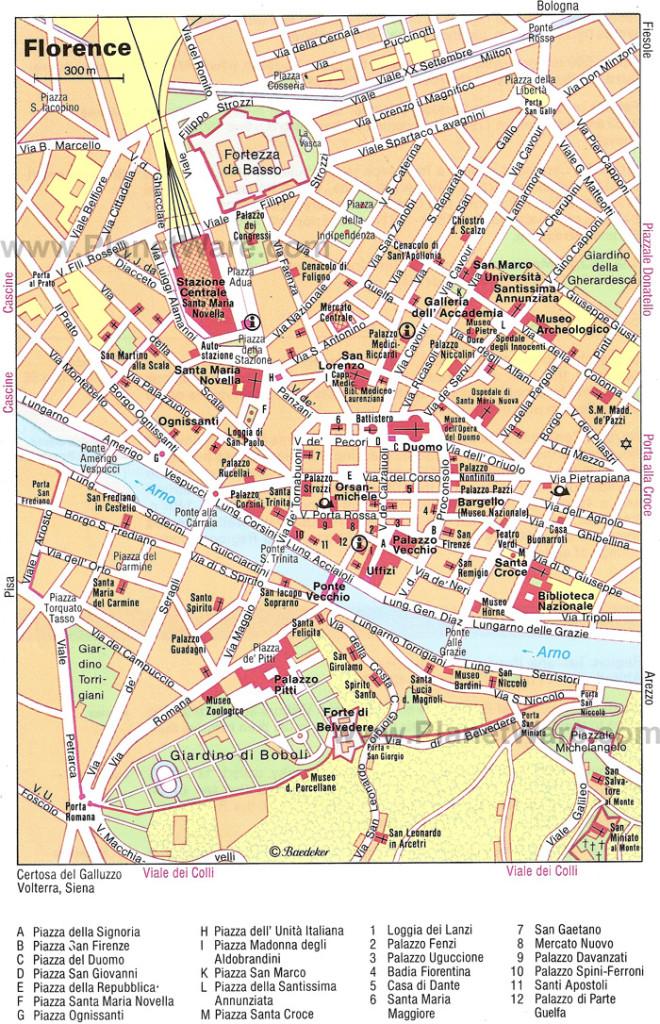 O mapa do centro de Florença