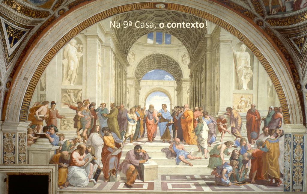 Já os assuntos da 9ª Casa (análoga ao signo de Sagitário) são: os estudos superiores, o ambiente no exterior, as viagens longas, os ideais, a Fé, a religião e a Filosofia. É sua relação com o theós (divino).