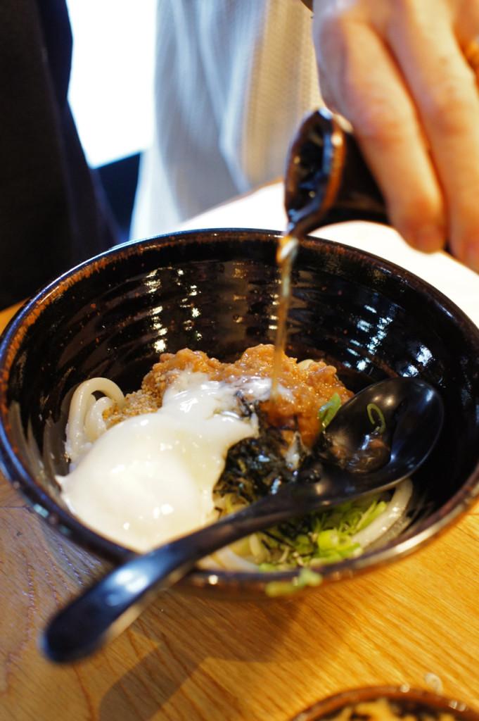 O meu favorito, porco com miso, udon frio e bouillon quente!...