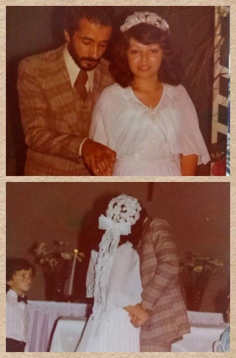 Querida Consu! segue fotos de meu casamento.. Esta menina sou eu..aos 19 anos subi ao altar...em 1977.. Meu marido,meu amor, meu parceiro de tds esses anos, um fofo q faz tudo p me ver feliz..tenho um casal de filhos ..Edu e Jaque..meus amores..:) Consu.. meu vestido era beeem simples..quem fez foi minha tia q era costureira.. copiamos o modelo q ameeeei  d uma loja de noivas..o tecido era plissado,e eu mesma bordei a parte cima igual ao enfeite da cabeça...A festa foi no salão da igreja onde tds bailaram  à vontade..:) AHHHH!!!!! só o Salotto mesmo..revivi td novamente..:) bjuss a todos