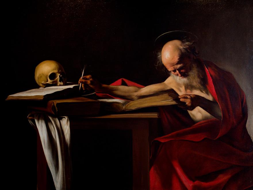 São Jerônimo (que traduziu a bíblia do hebraico e aramaico para o grego e o latim) por Caravaggio (1606), Galleria Borghese, Roma.