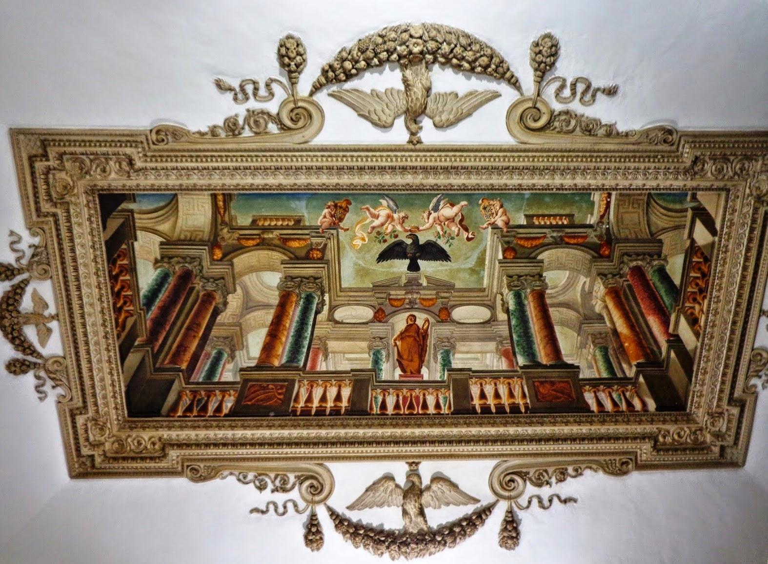Afresco no teto do Palazzo Mattei di Giove. A águia foi acrescentada ao Brasão dos Mattei após o casamento de Asdrubale Mattei com Costanza Gonzaga di Novellara
