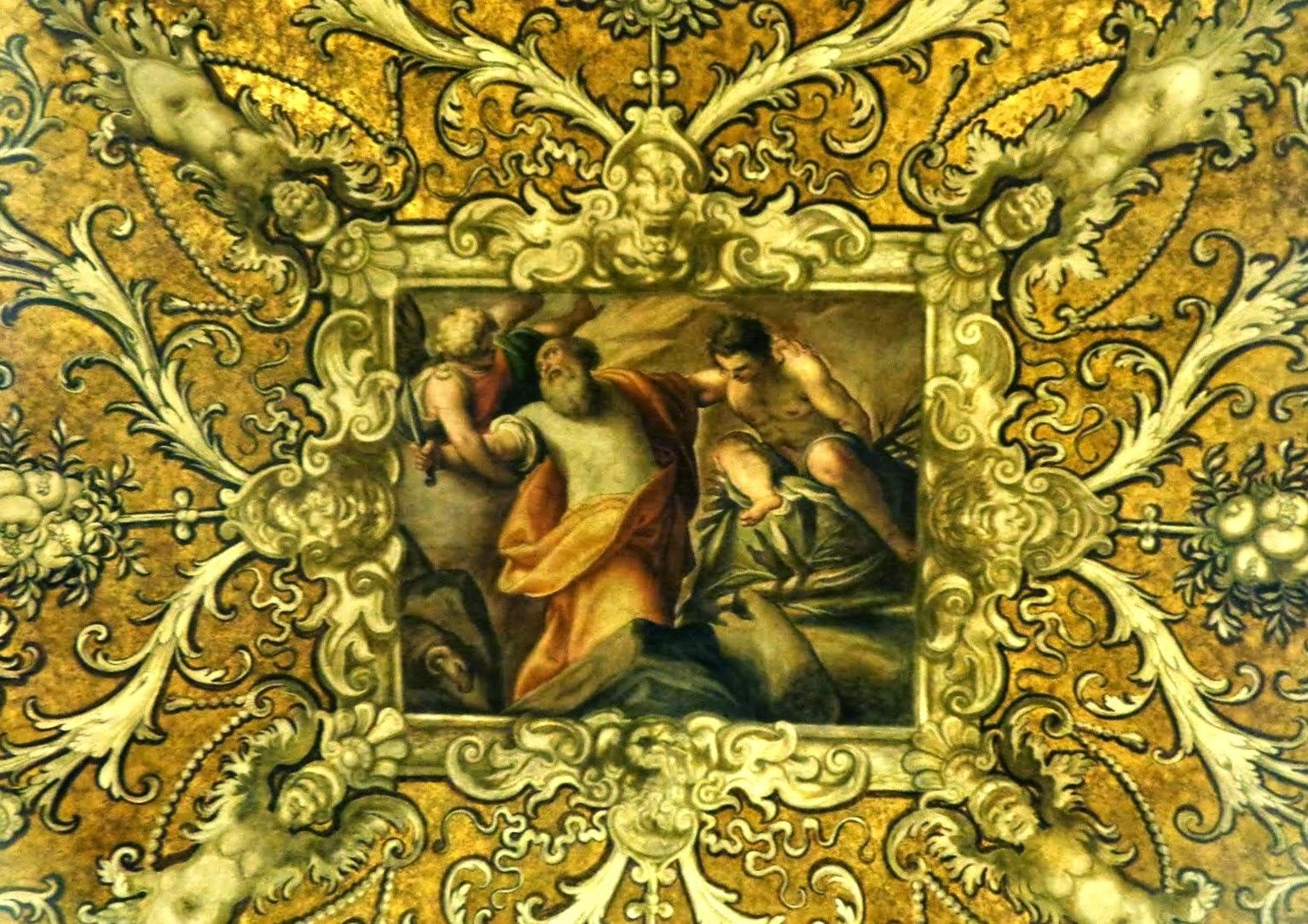 Nesse afresco, o sacrifício de Isaac por Abraão. Na parte externa do Palazzo, os temas eram pagãos, mas na parte interna, a Sra. Costanza Gonzaga di Novellara Mattei exigiu que os temas retratados fossem cristãos.