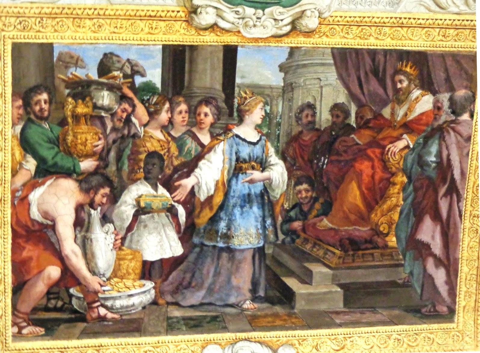 Nesse belíssimo afresco, a Rainha de Sabá se apresenta diante do Rei Salomão.