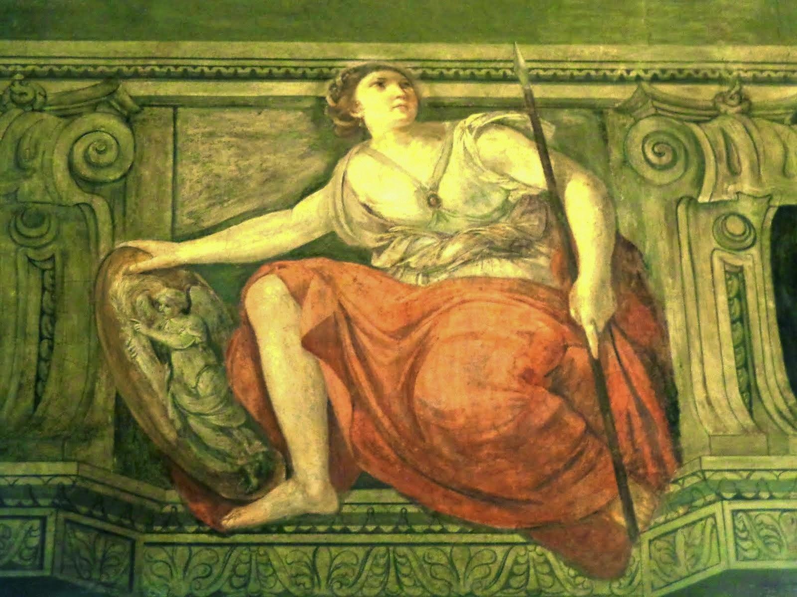 Nos afrescos, as divindades greco-romanas, pagãs, conferiam leveza e harmonia.