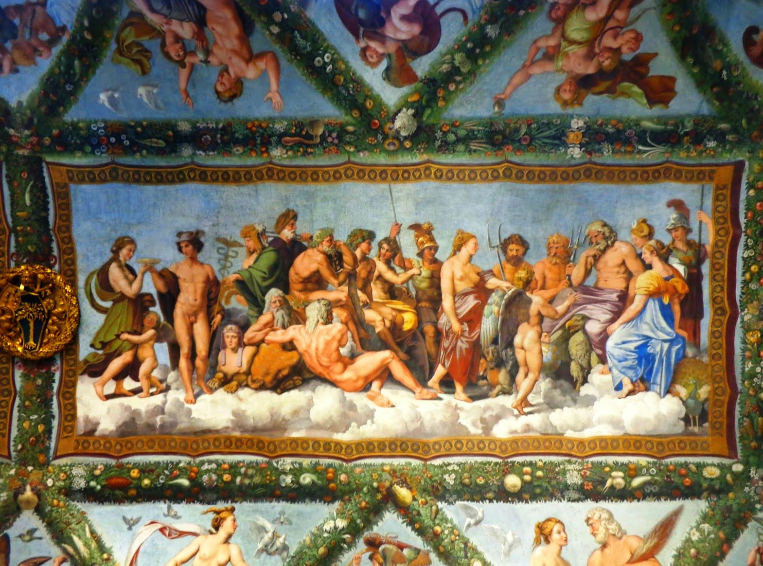 Afrescos retratando Bodas e o Panteão dos deuses no Olimpo.