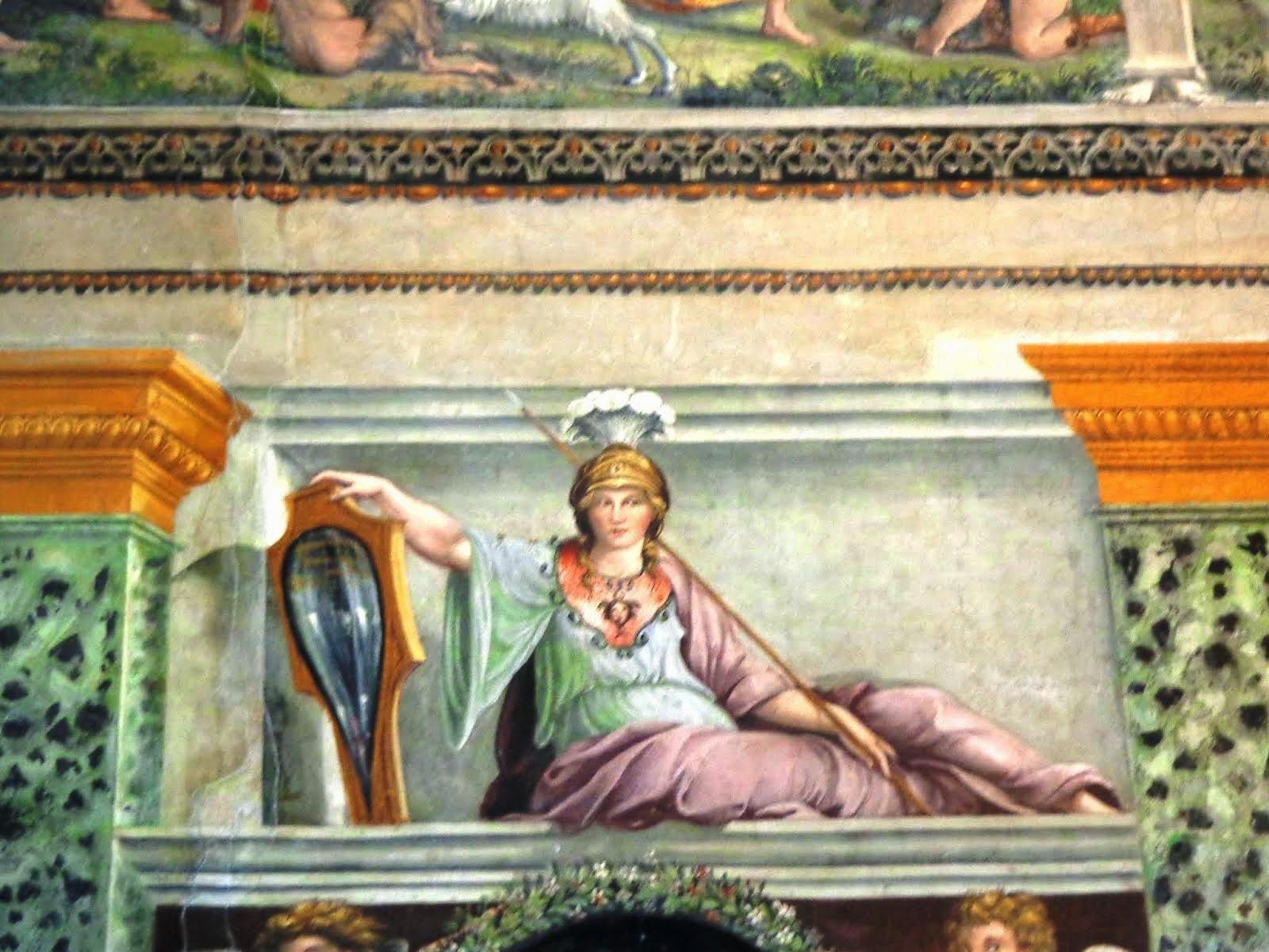 Nesse afresco, a deusa da Sabedoria e Justiça, Palas Athena (Minerva).