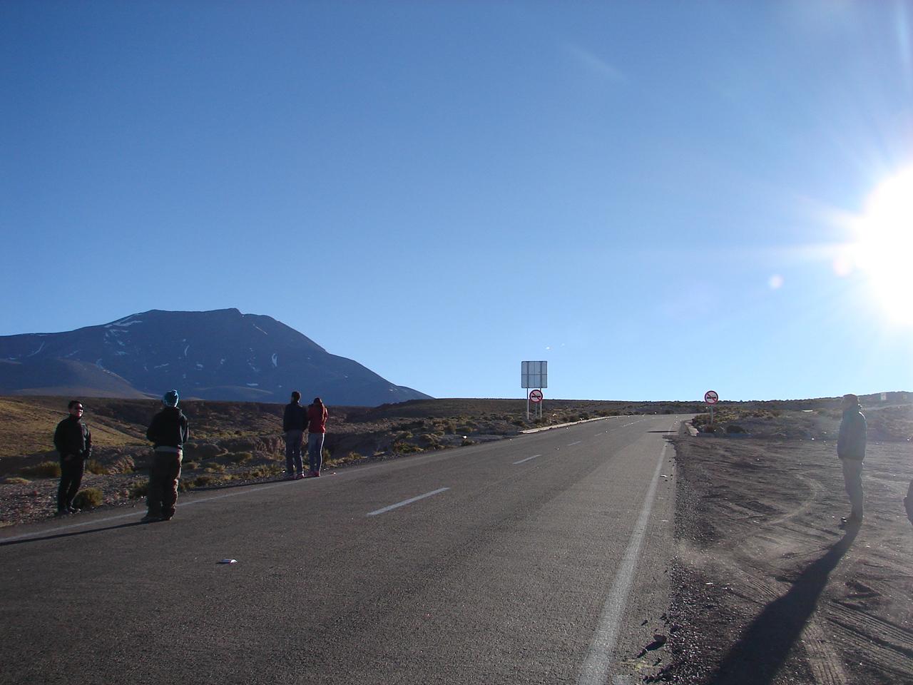 Pit stop na estrada para fotos