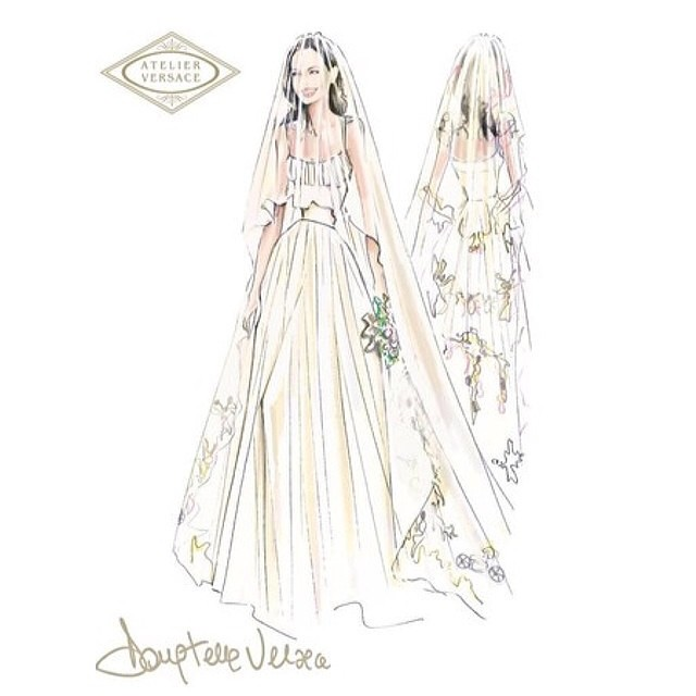 Croqui do vestido de Angelina pelo Atelier Versace divulgado ontem.  Foto Instagram Elle Brasil