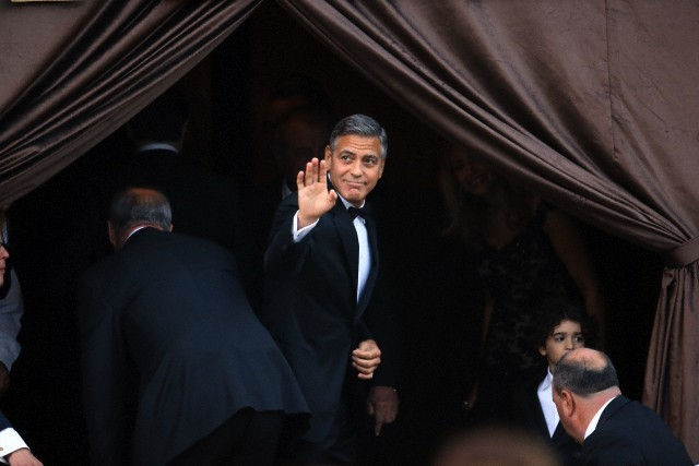 George Clooney arrived at the aman hotel where he is set to marry Amal Alamuddin