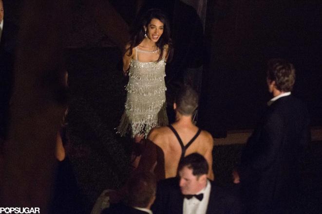 E o vestido pós casamento para a festa também de Oscar dela Renta.