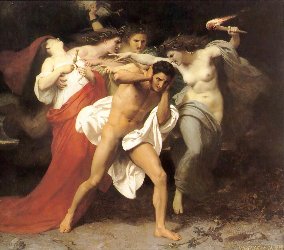 O remorso de Orestes (1862), de William-Adolphe Bouguereau (1825-1905). The Chrysler Museum of Art, Nortfolk, Virgínia.
