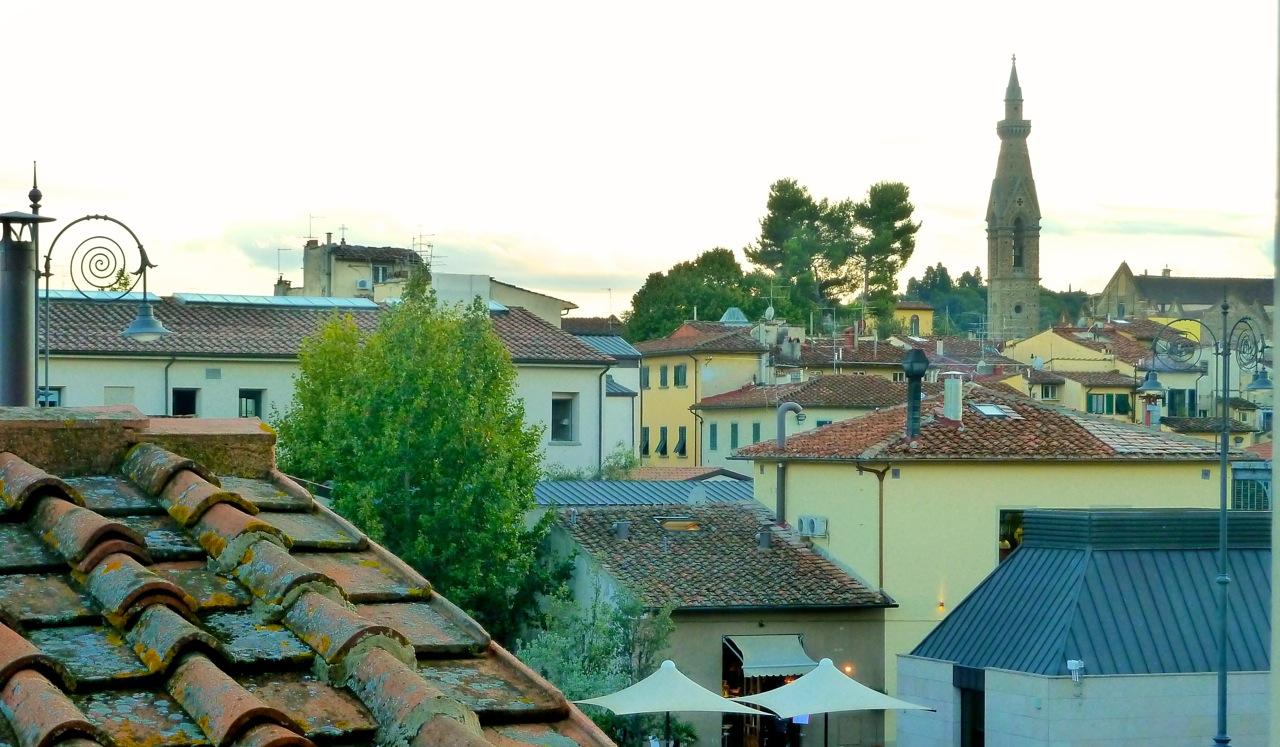 A vista do pequeno terraço.