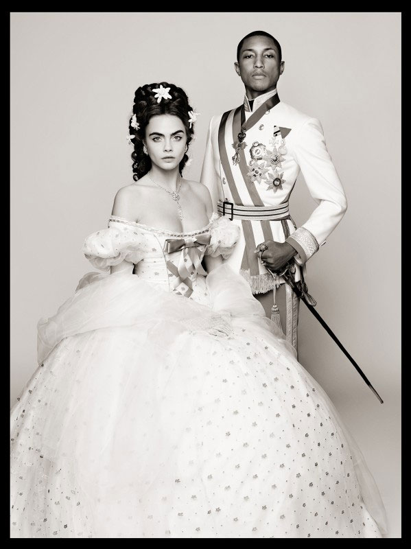 Pharrell-Williams-Cara-Delevingne-Reincarnation-by-Karl-Lagerfeld-picture-Karl-Lagerfeld