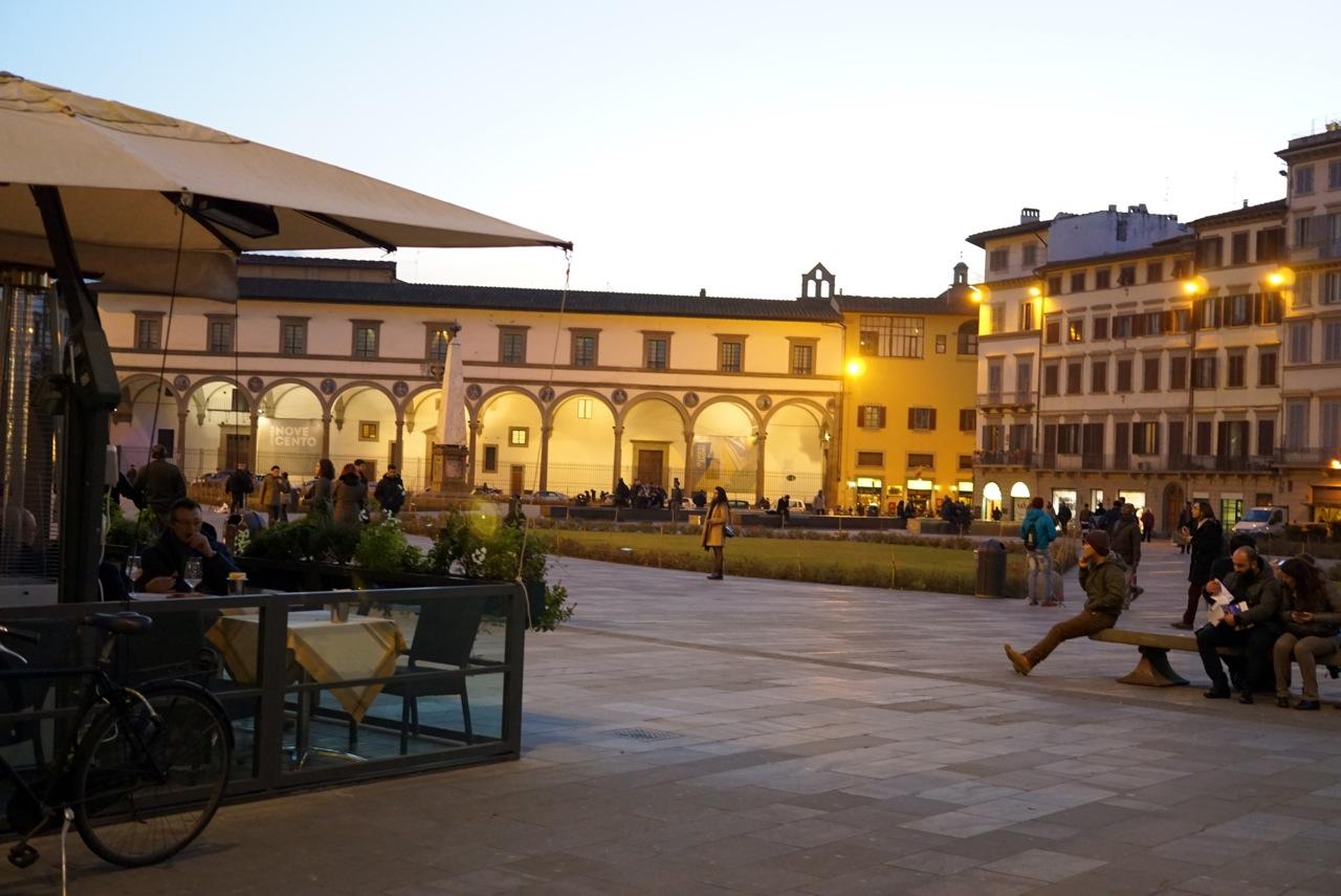 A praça de Santa Maria Novella em Florença, próxima a onde foi o desfile.