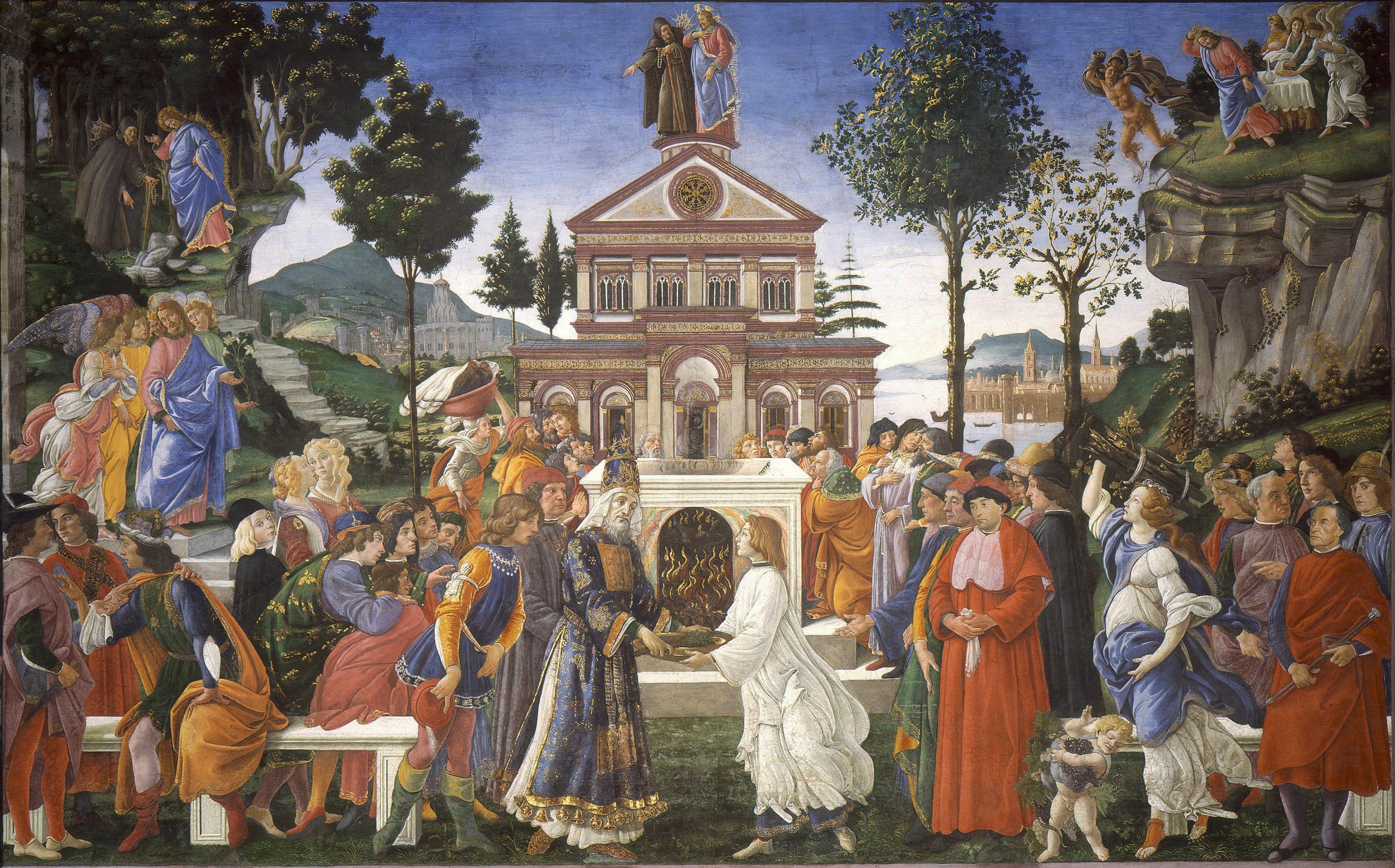 """""""A tentação de Cristo"""", por Botticelli (1481-82), Museu do Vaticano, Roma."""
