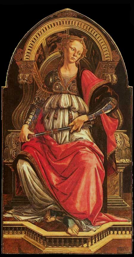 Alegoria Virtude da Coragem, de Botticelli (1470), Galleria degli Uffizi, Florença.
