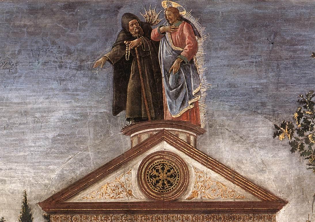 """Detalhe de """"A tentação de Cristo"""", por Botticelli."""
