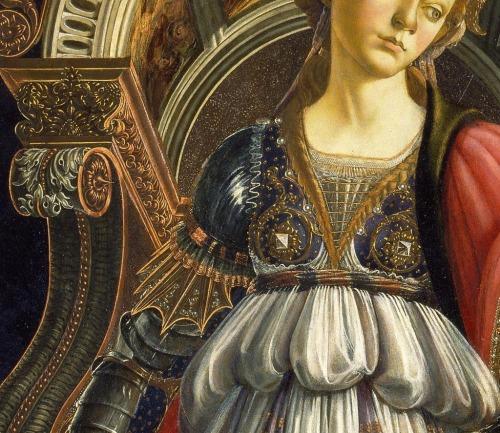 Detalhe da Virtude da Coragem Botticelli (1470). Galleria degli Uffizi, Florença.