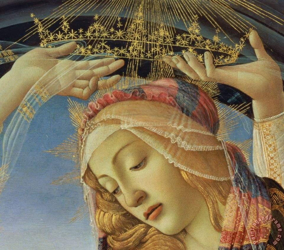 Detalhe da coroa da Virgem Nossa Senhora da Assunção (1481-83). Galleria degli Uffizi, Florença.