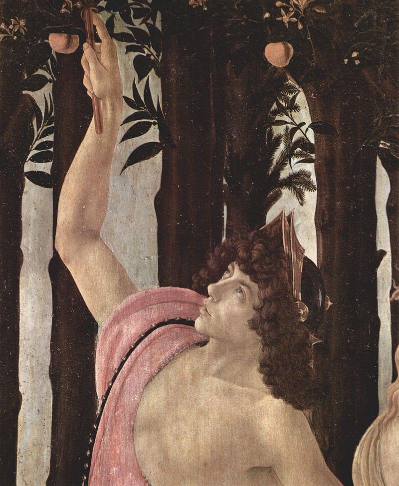 Botticelli inspirou-se no rosto de Juliano de Médici como modelo para retratar o mensageiro dos deuses.