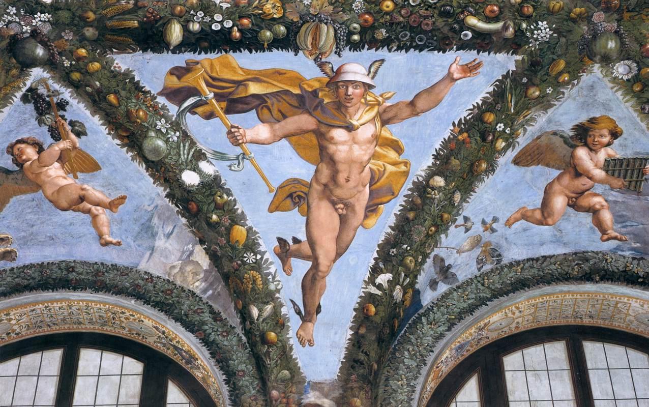 Mercúrio, afresco do Renascentista Rafael Sanzio na Villa Farnesina, Roma. Consagramos nosso espírito ao que achamos belo, pertinente e a arte é o veículo através do qual expressamos o que se passa em nossos tempos.
