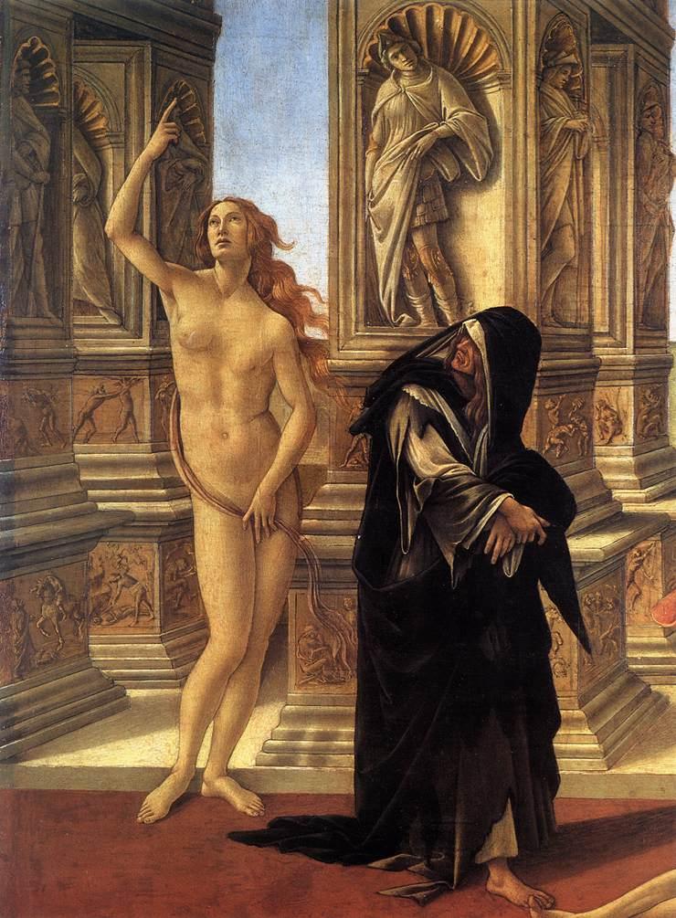 """Nesse trecho de """"A calúnia de Apeles"""" (1495), Botticelli retrata a fealdade de uma anciã maltrapilha (alusão à Igreja?) que se volta para encarar a verdade nua que aponta para o céu. Galleria degli Uffizi, Florença."""